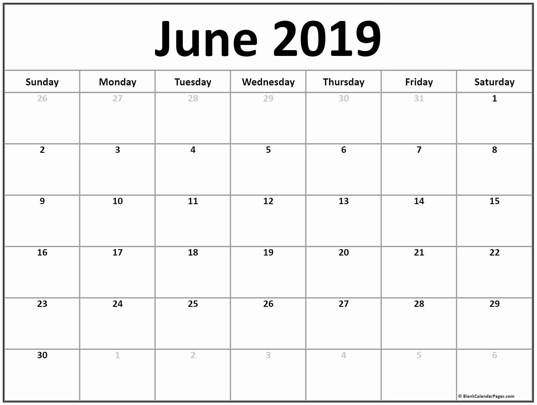 Calendar 2019 Printable Free June June 2019 Calendar Free-Blank Calendar June July August Combination Printable
