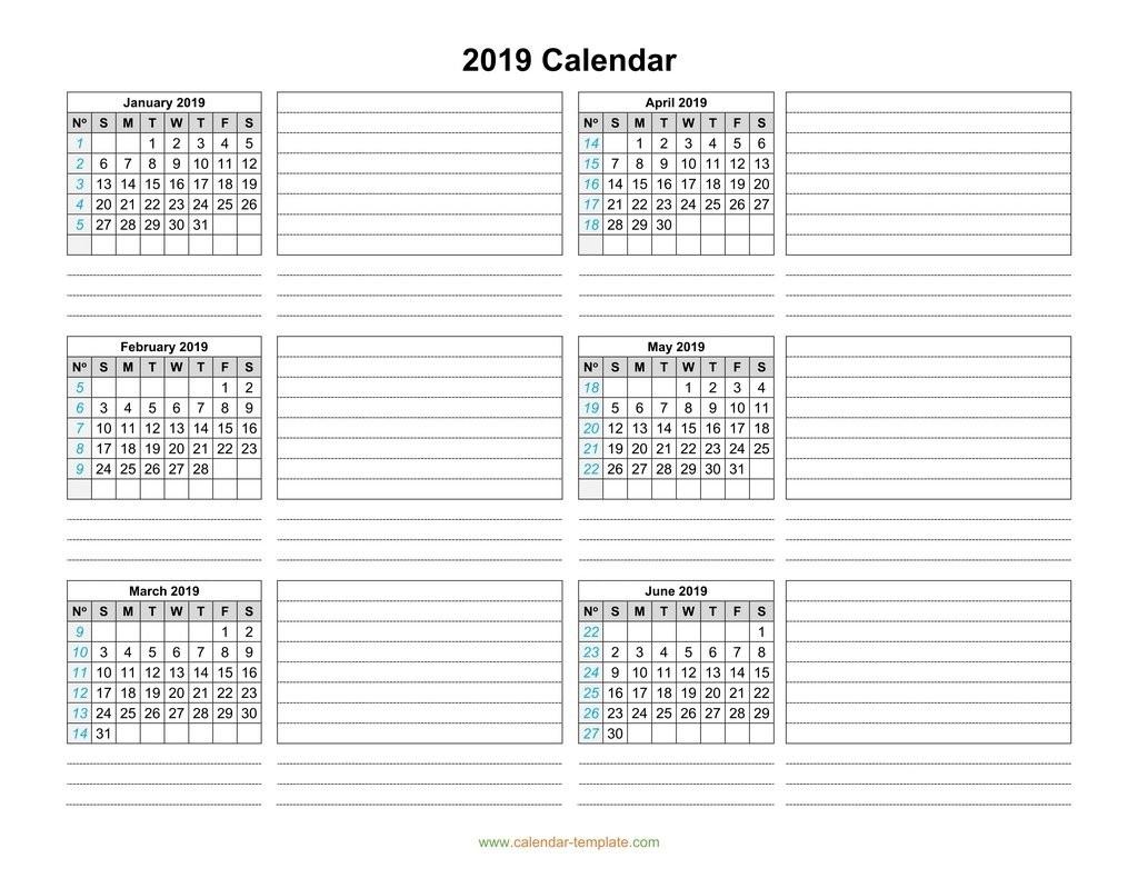 Calendar 2019 Template Six Months Per Page-Print Blank Calendar 6 Months Per Page