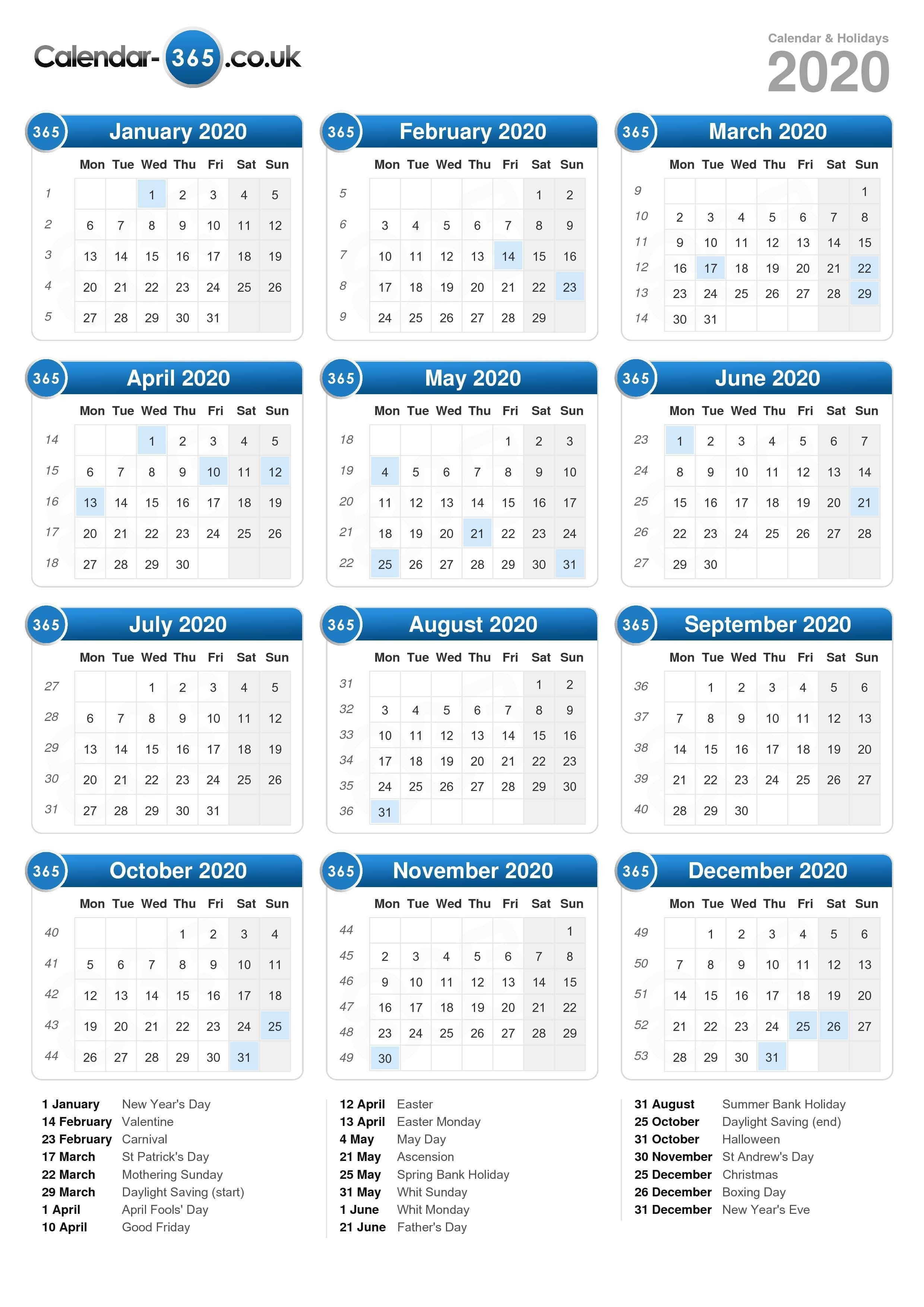 Calendar 2020-2020 Calendar Including Bank Holidays