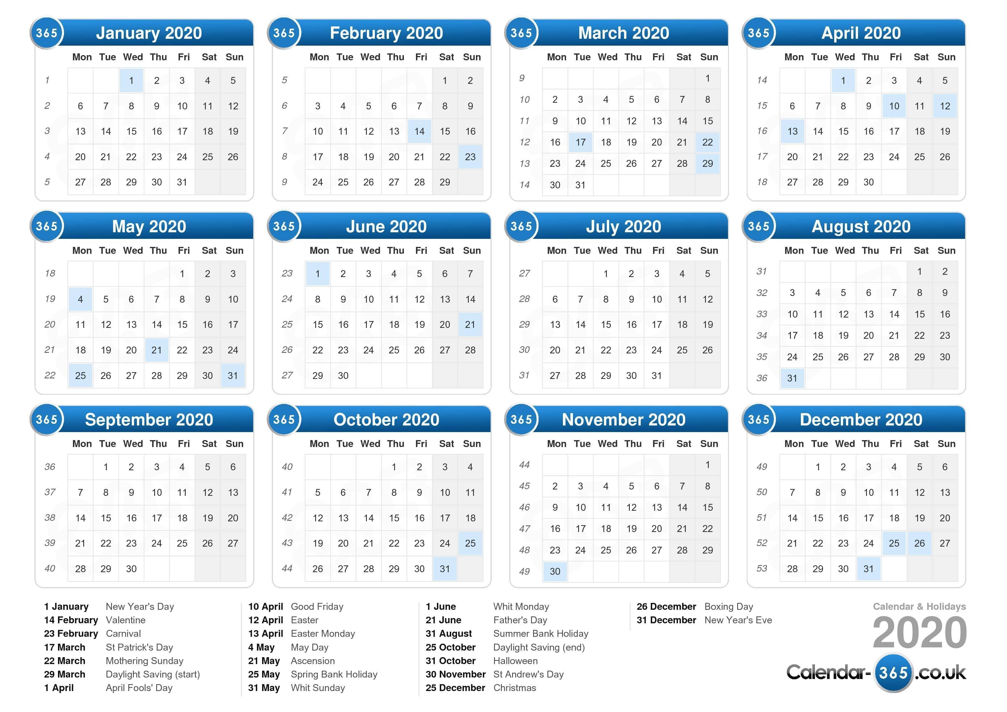 Calendar 2020-Calendar 2020 Printable With Bank Holidays