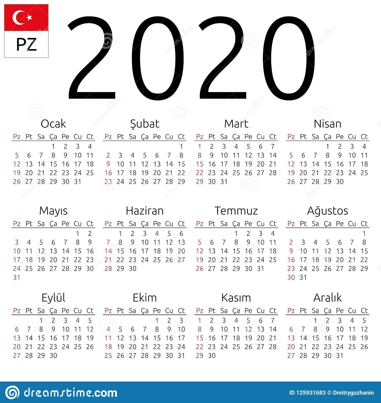Calendar 2020, Turkish, Sunday Stock Vector - Illustration-January 2020 Arabic Calendar