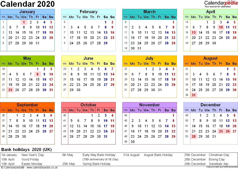 Calendar 2020 (Uk) - 16 Free Printable Pdf Templates-2020 Calendar Including Bank Holidays