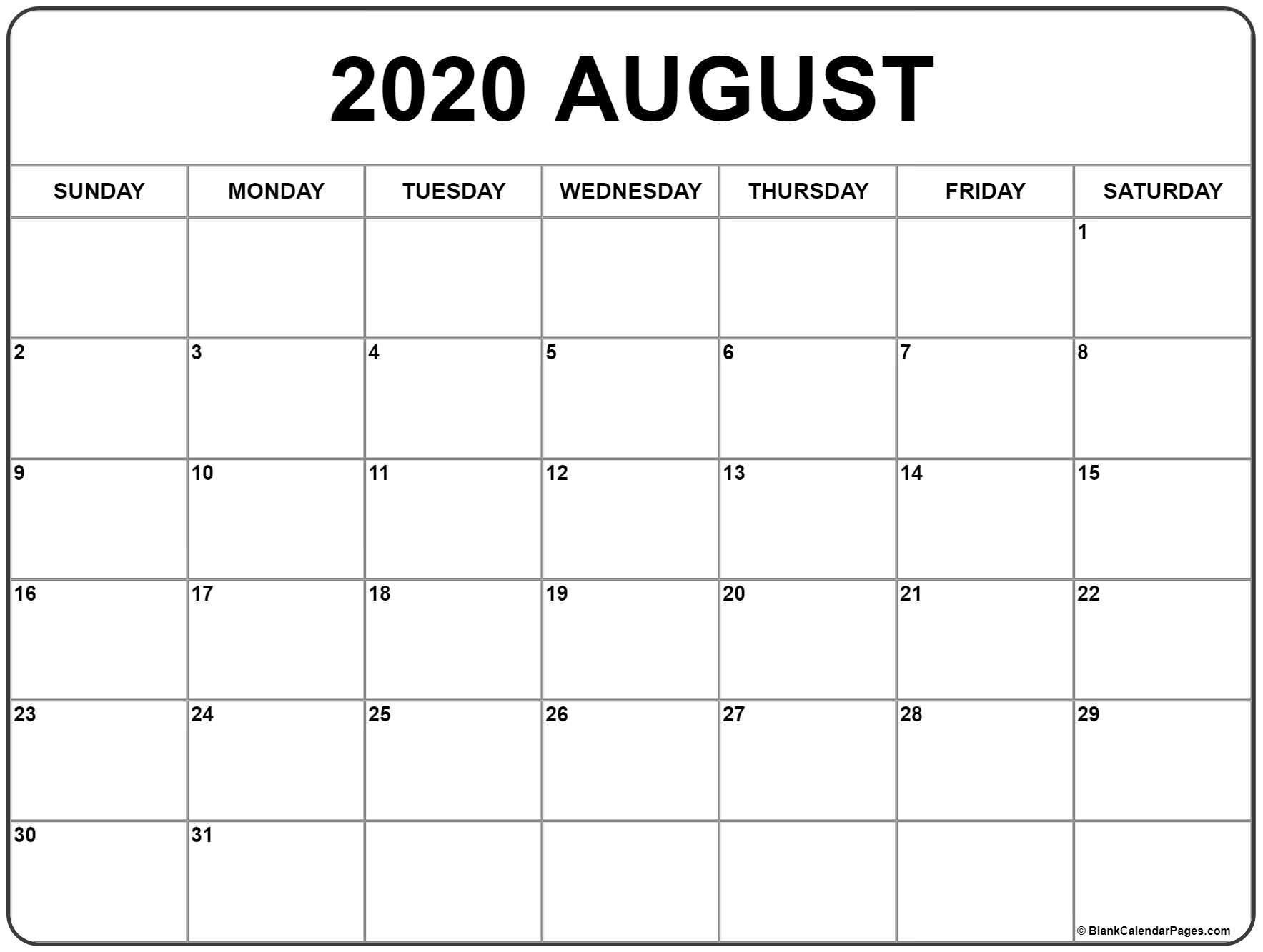 Calendar Aug 2020-Free Monthly Holiday Themed Calendar Printable 2020-2020