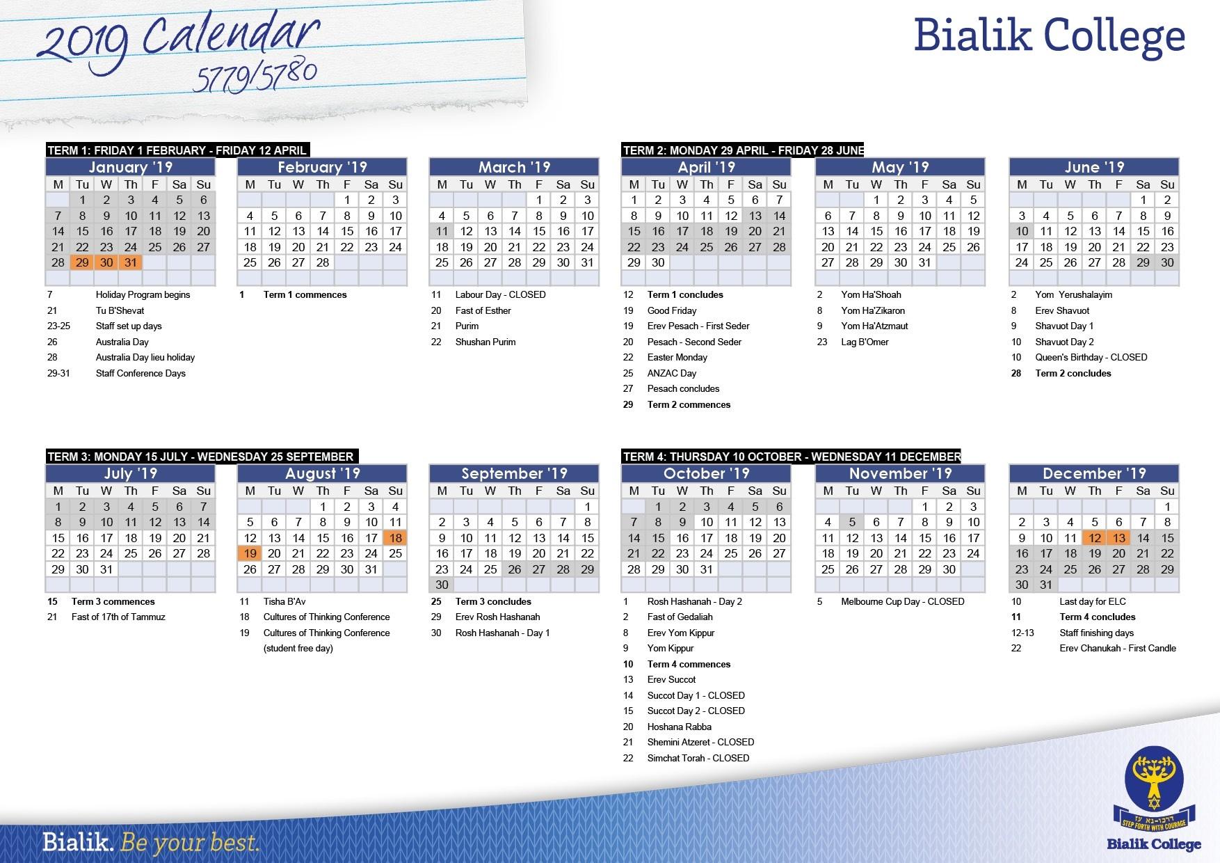 Calendar - Bialik-Calendar Of Jewish Holidays 2020