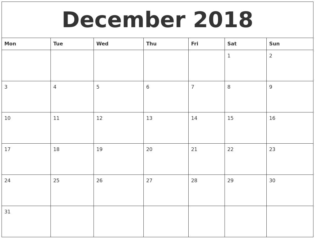 Calendar December 2018 Uk | December 2018 Calendar Uk-Monthly Calendar Uk Printable
