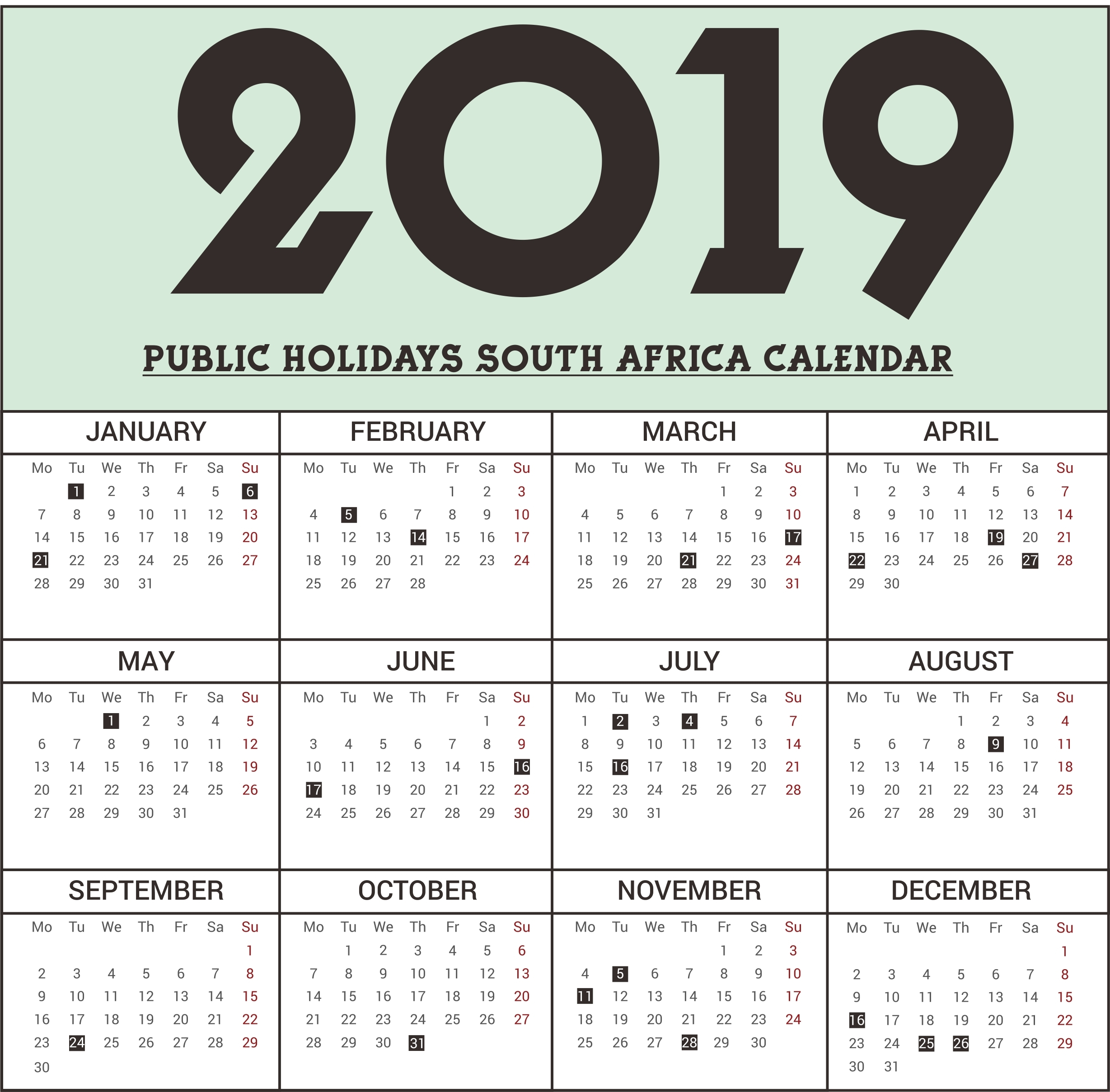 Calendar Holidays 2019 South Africa • Printable Blank-Public Holidays South Africa
