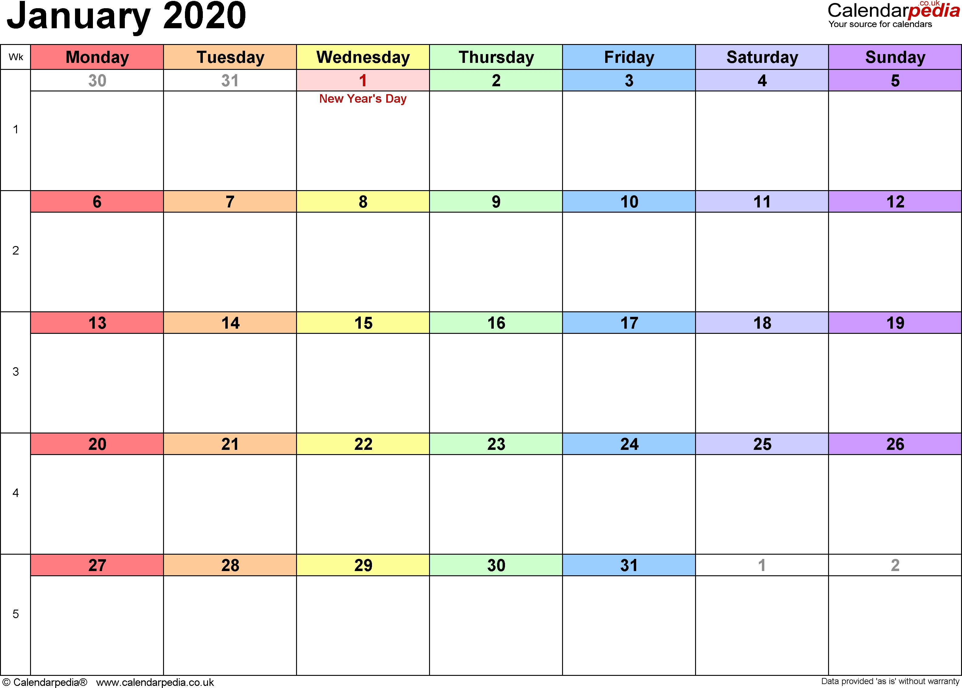 Calendar January 2020 Uk, Bank Holidays, Excel/pdf/word-January 2020 Calendar Australia
