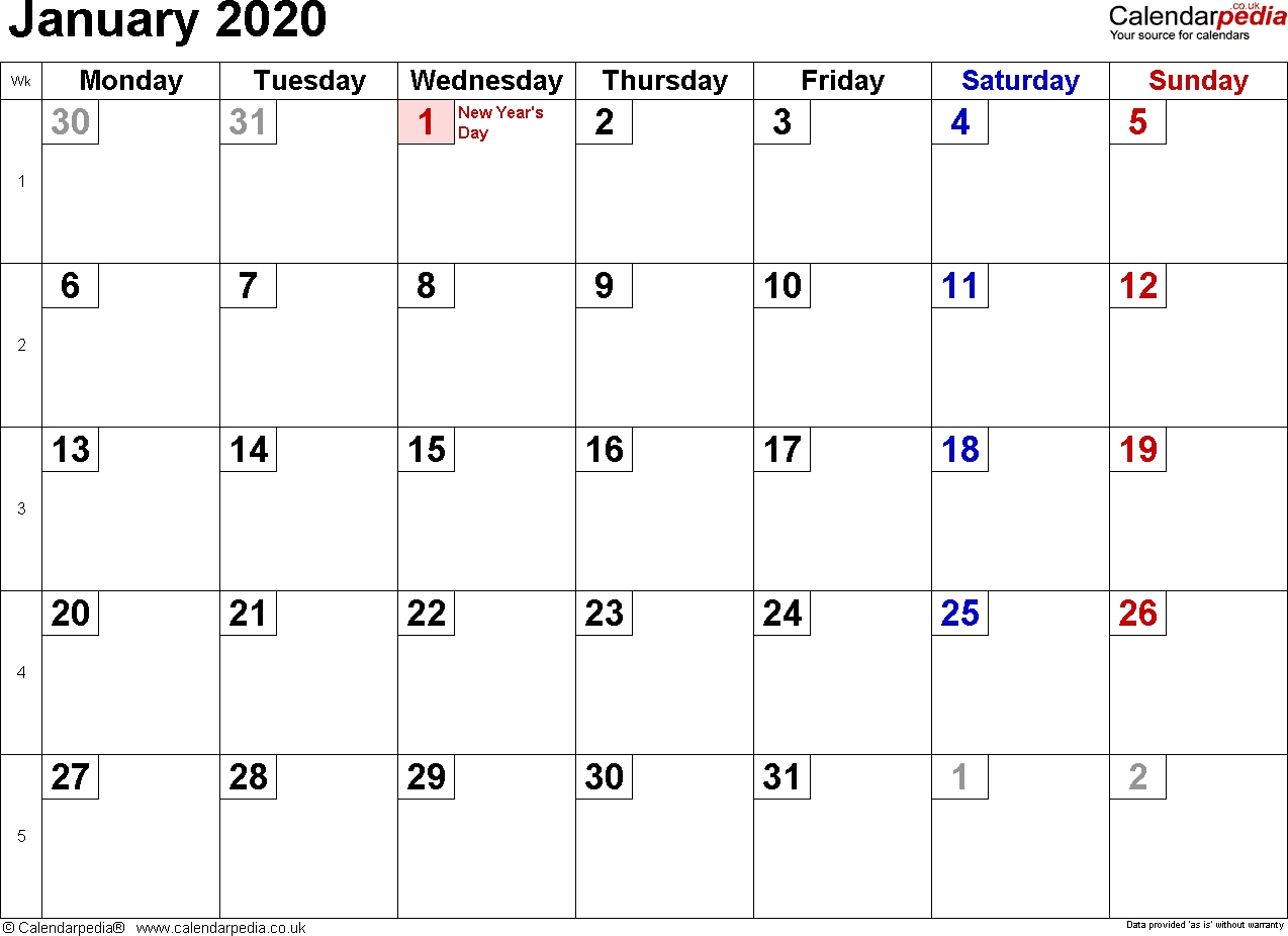 Calendar January 2020 Uk, Bank Holidays, Excel/pdf/word-January 2020 Calendar Events