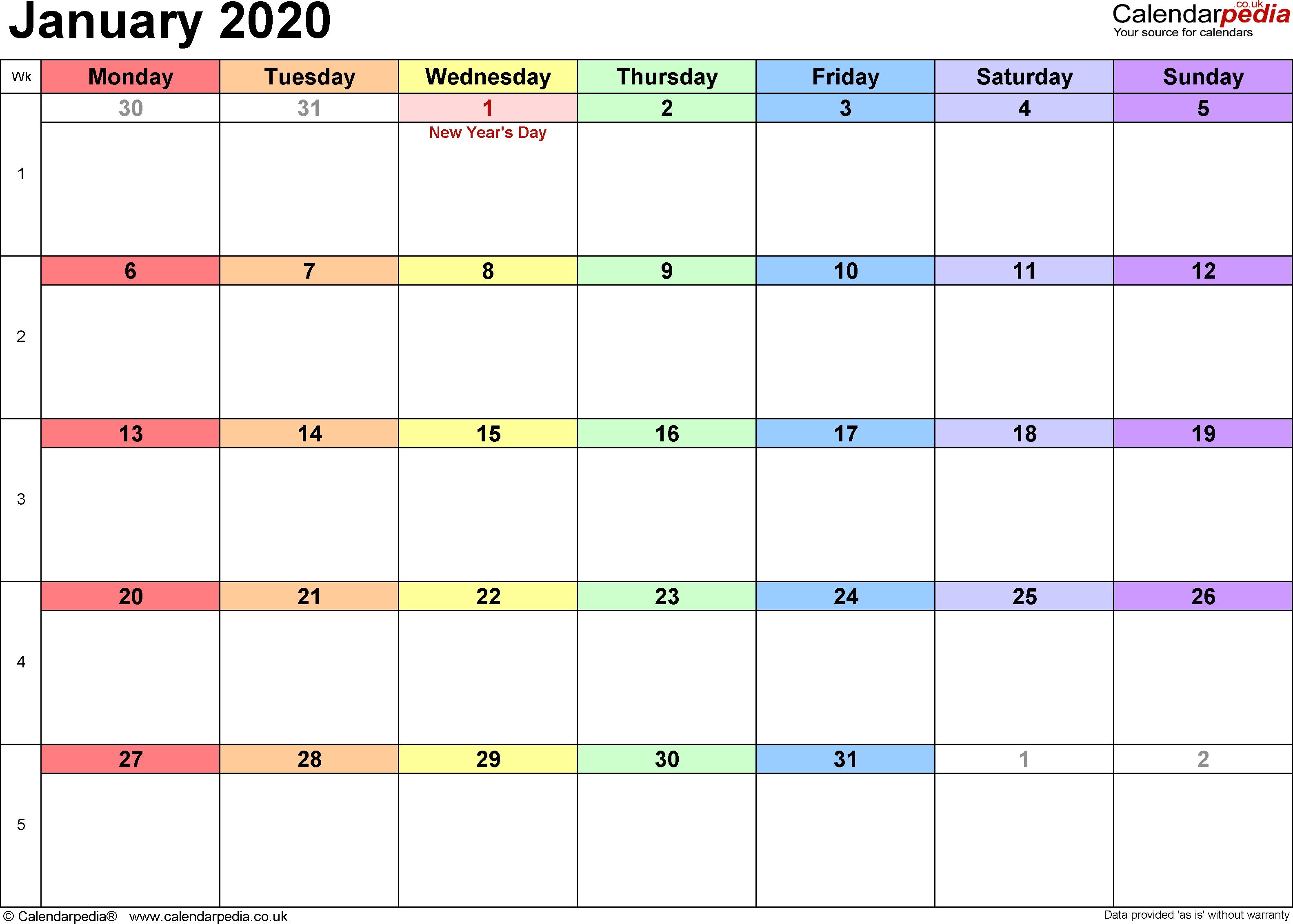 Calendar January 2020 Uk, Bank Holidays, Excel/pdf/word-January 2020 Daily Calendar