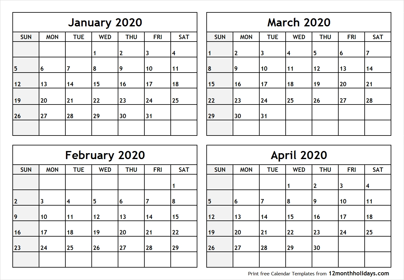 Calendar-January-To-April-2020-Printable - All 12 Month-2020 Calendar January February March