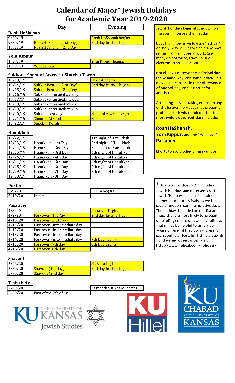 Calendar | Jewish Studies-2020 Jewish Calendar With Holidays