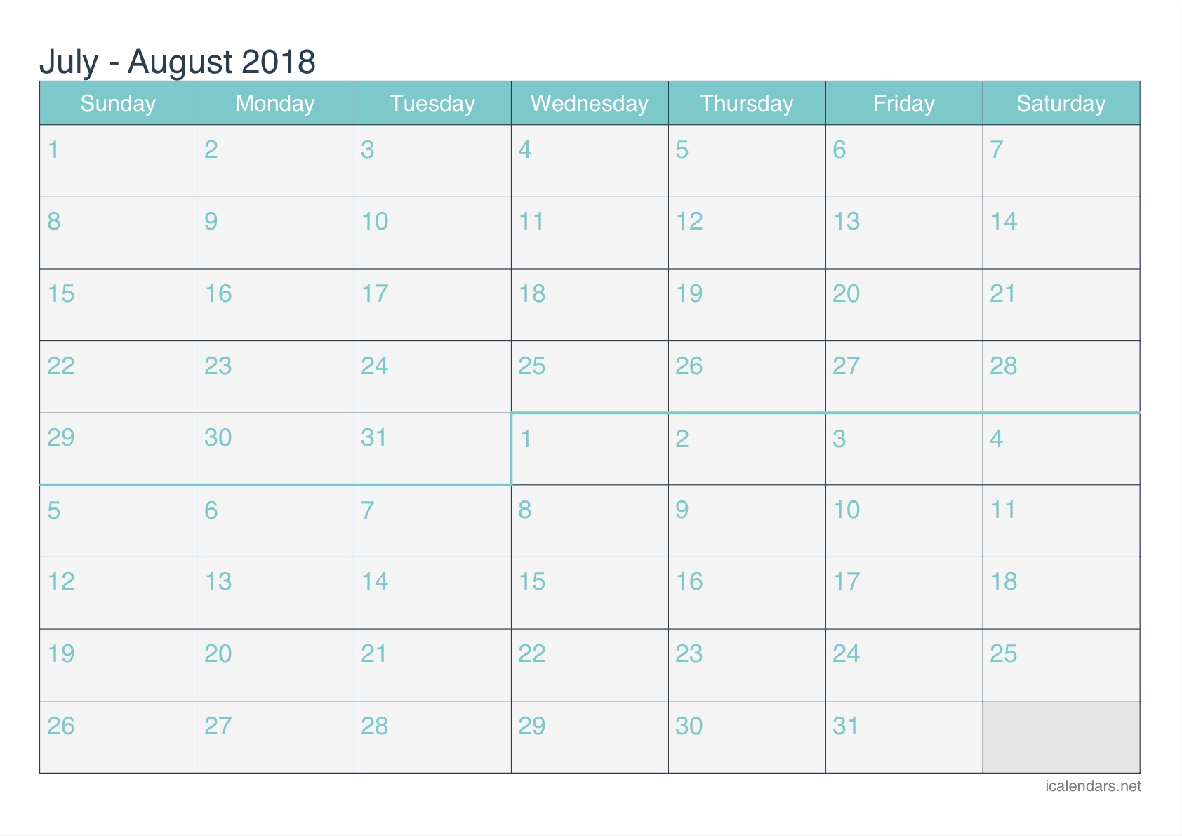 Calendar July August 2018 Printable Template Free Download-July And August Blank Schedule