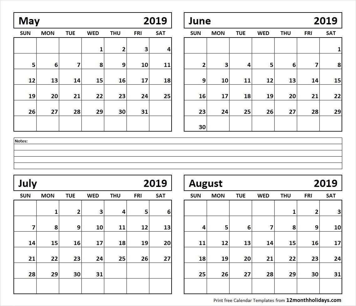 Calendar June-August 2019 | Template Calendar Printable-Printable Monthly Calendars For June And July