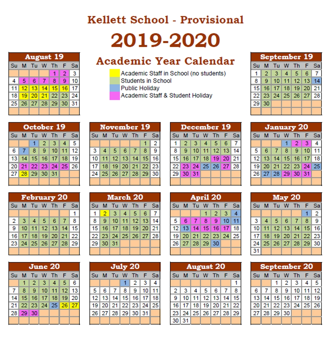 Calendar - Kellett School - The British International School-January 2020 Calendar Hong Kong
