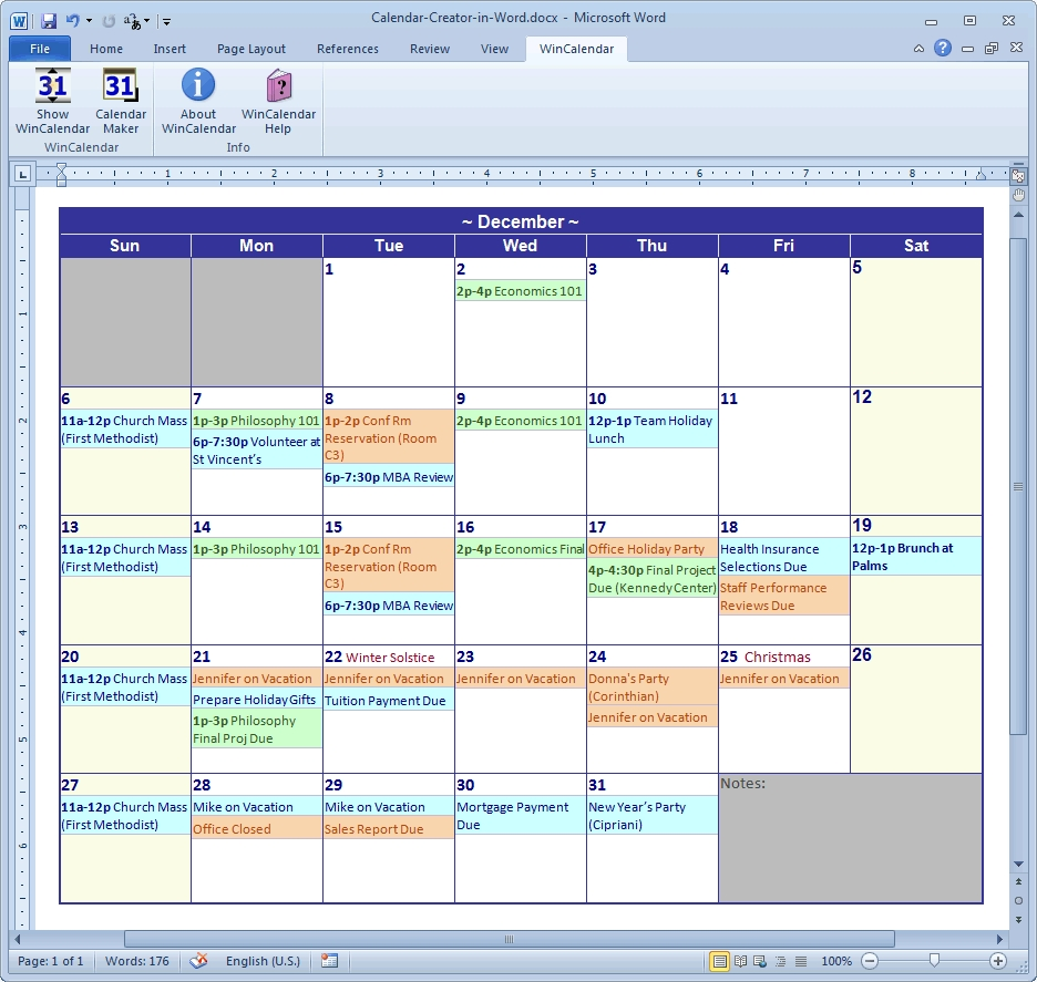Calendar Maker & Calendar Creator For Word And Excel-Summer Camp Template Calendar For Word