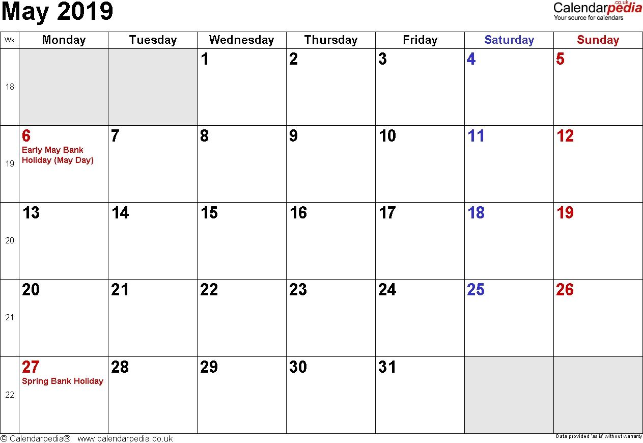 Calendar May 2019 Uk, Bank Holidays, Excel/pdf/word Templates-Blank Month Caledar Uk