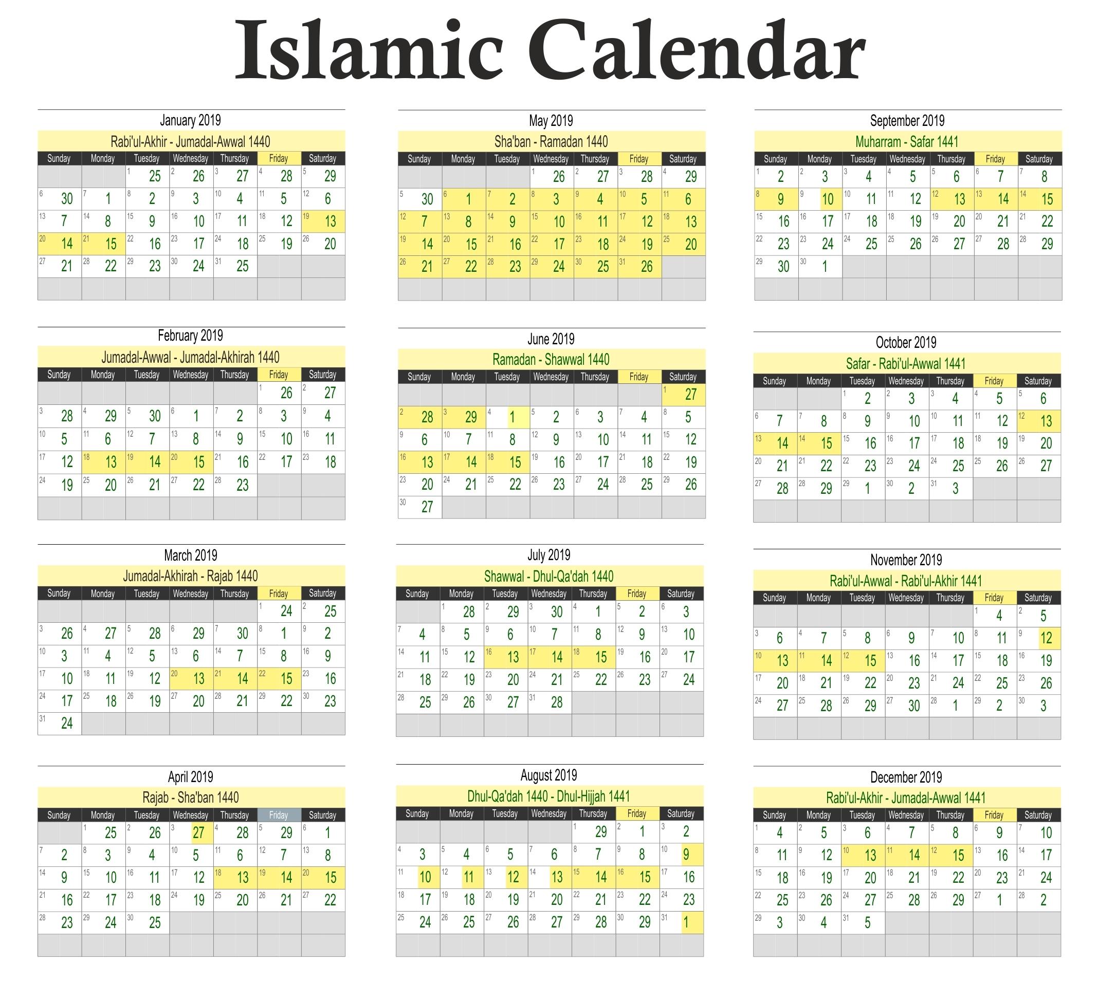 Calendar Muslim Holidays 2019 • Printable Blank Calendar-2020 Calendar Muslim Holidays