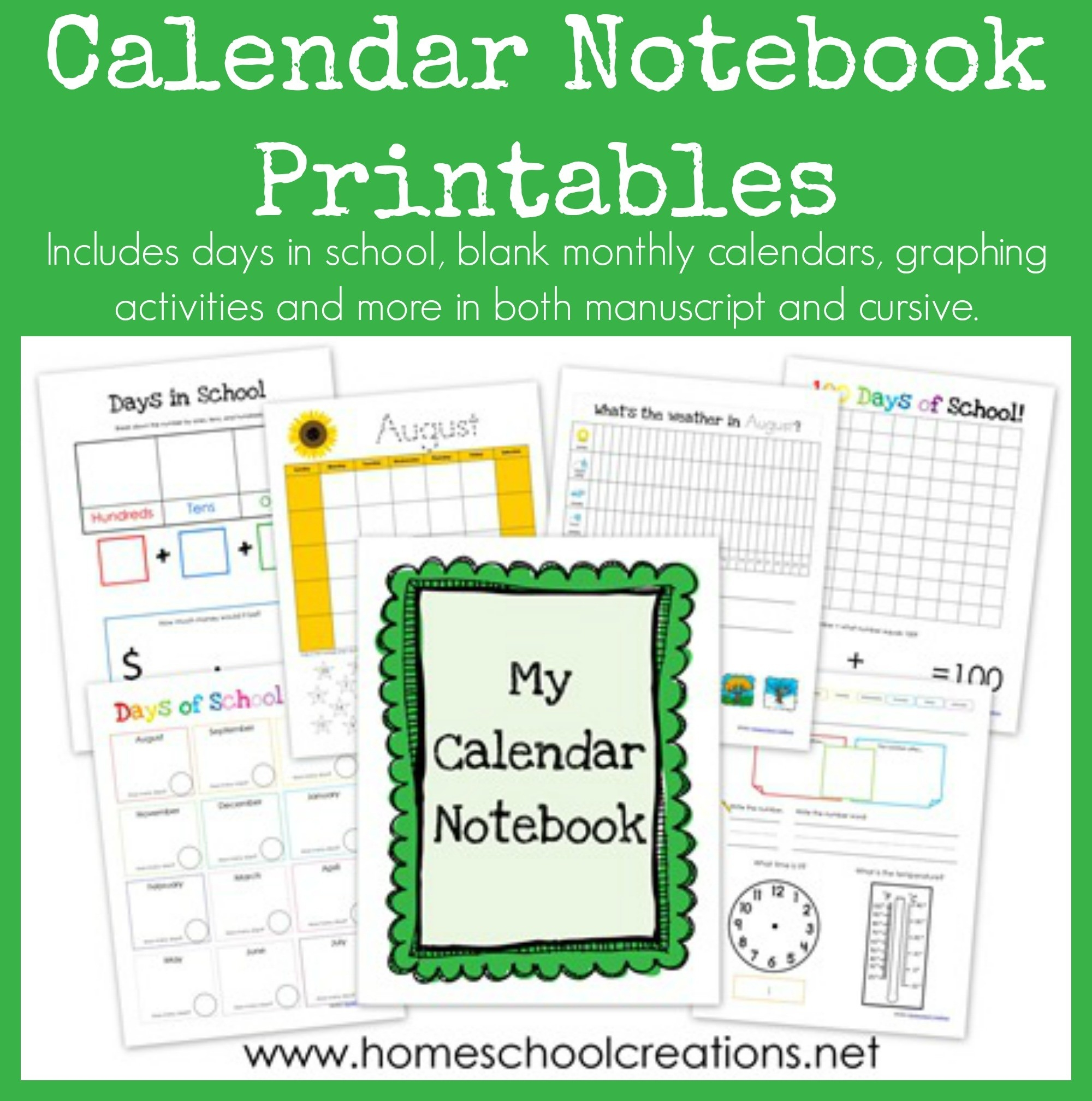 Calendar Notebook Binder Printables-Monthly Calendar Print Out For Notebooks