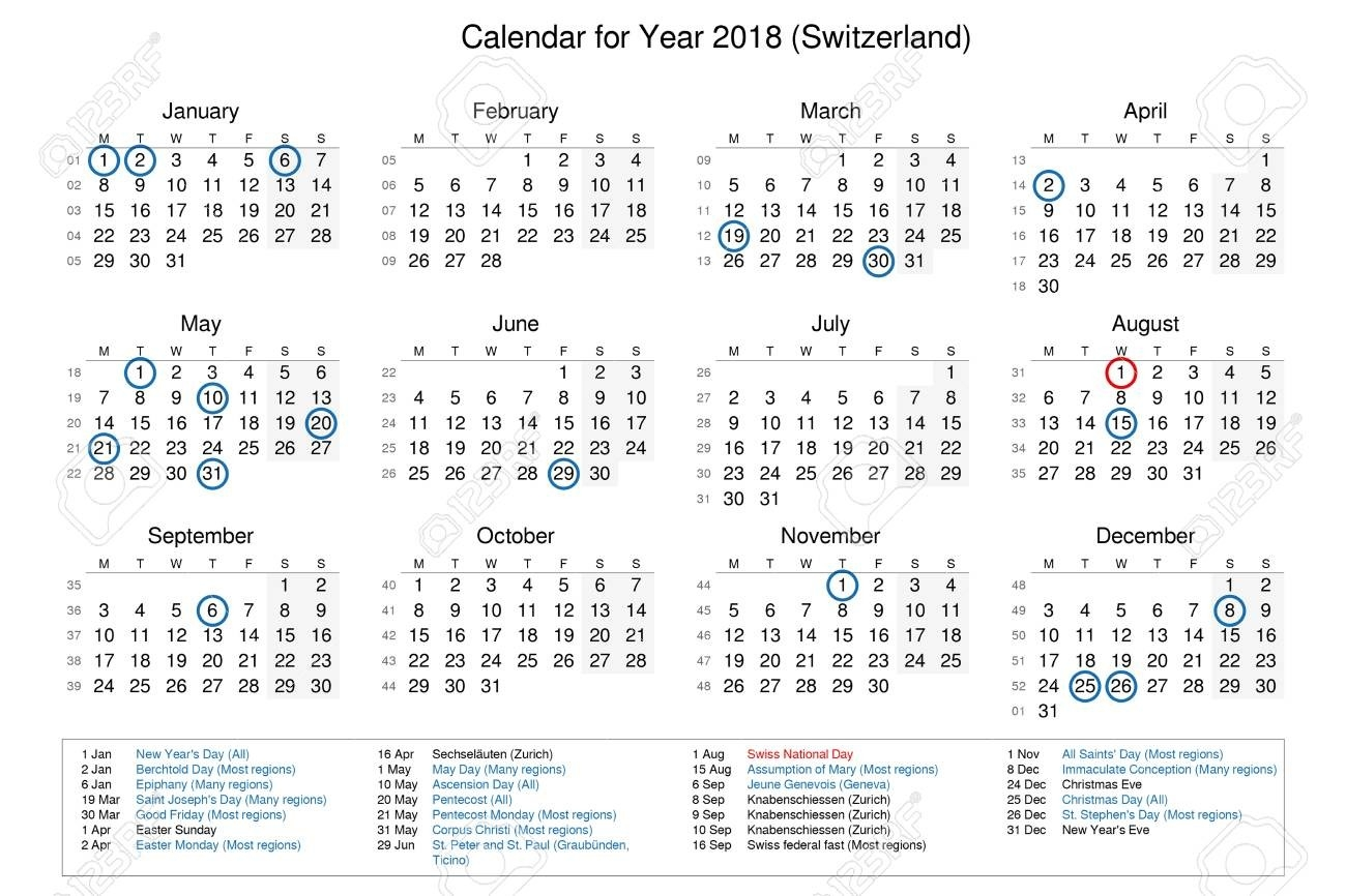 Calendar Of Year 2018 With Public Holidays And Bank Holidays..-Bank Holidays In Zurich