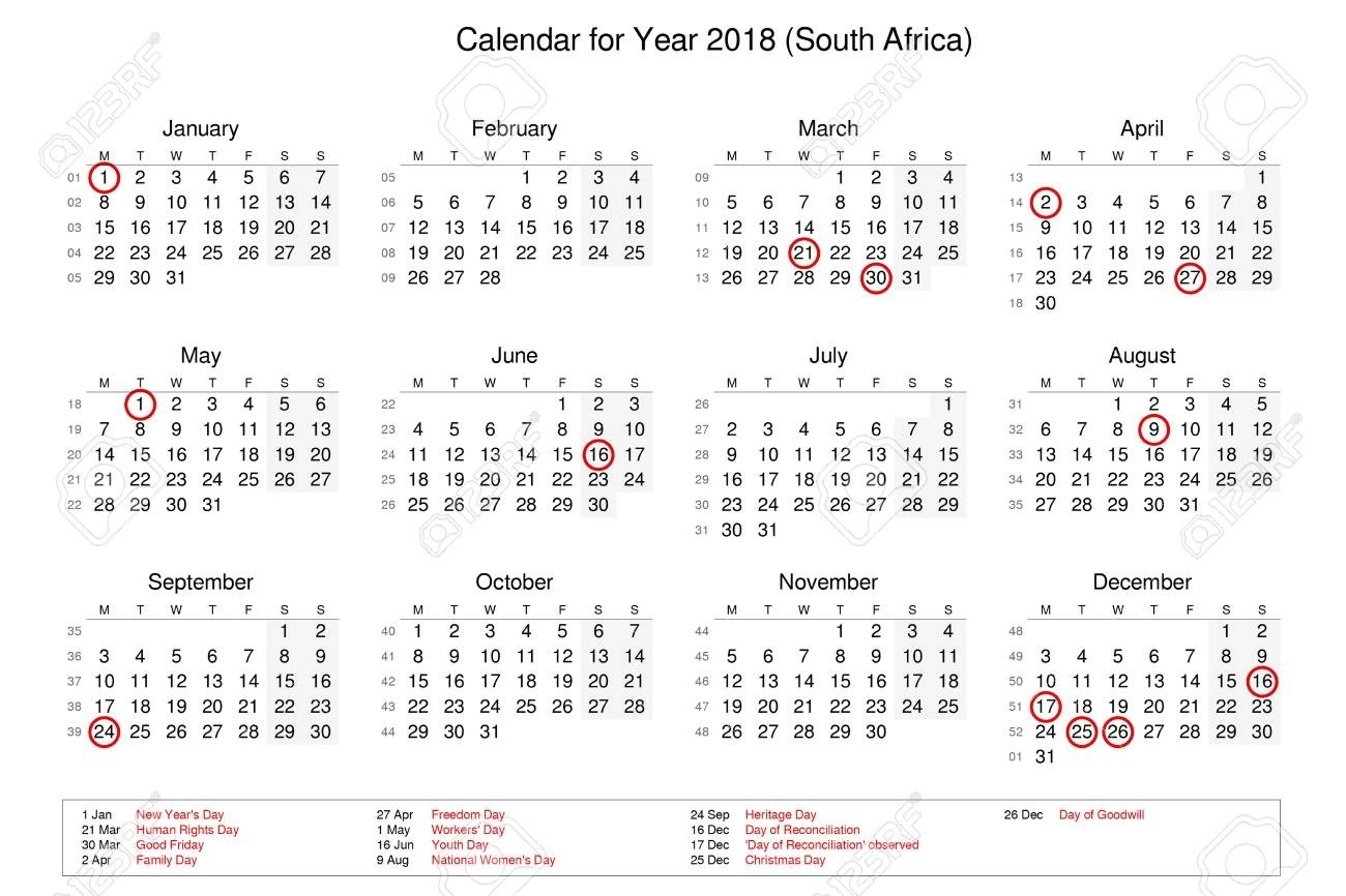Calendar Of Year 2018 With Public Holidays And Bank Holidays..-Public Holidays South Africa
