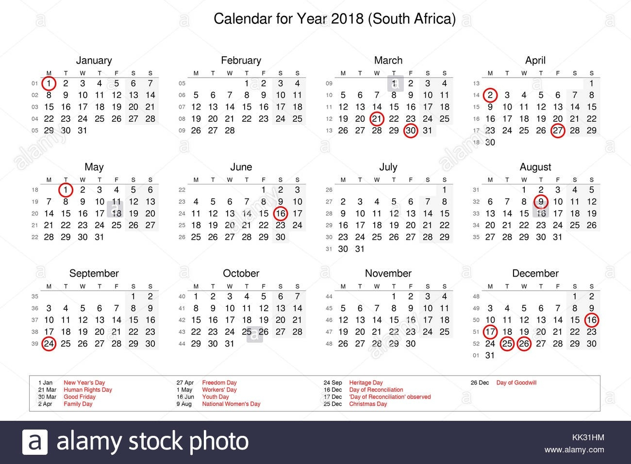 Calendar Of Year 2018 With Public Holidays And Bank Holidays-Public Holidays South Africa