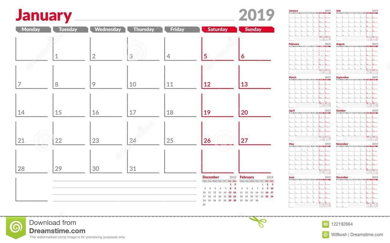 Calendar Planner Template 2019. Week Start From Monday. Set-Monthly Calendar Monday Start Week