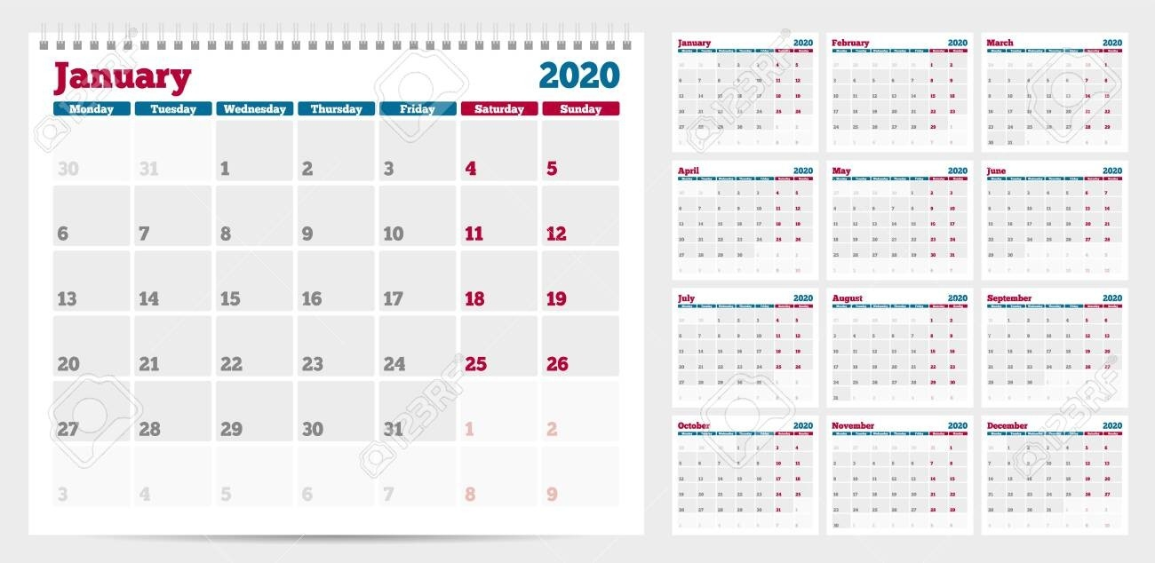 Calendar Planner Template 2020. Week Start From Monday. Set Of..-Monday To Friday Planner Templates 2020