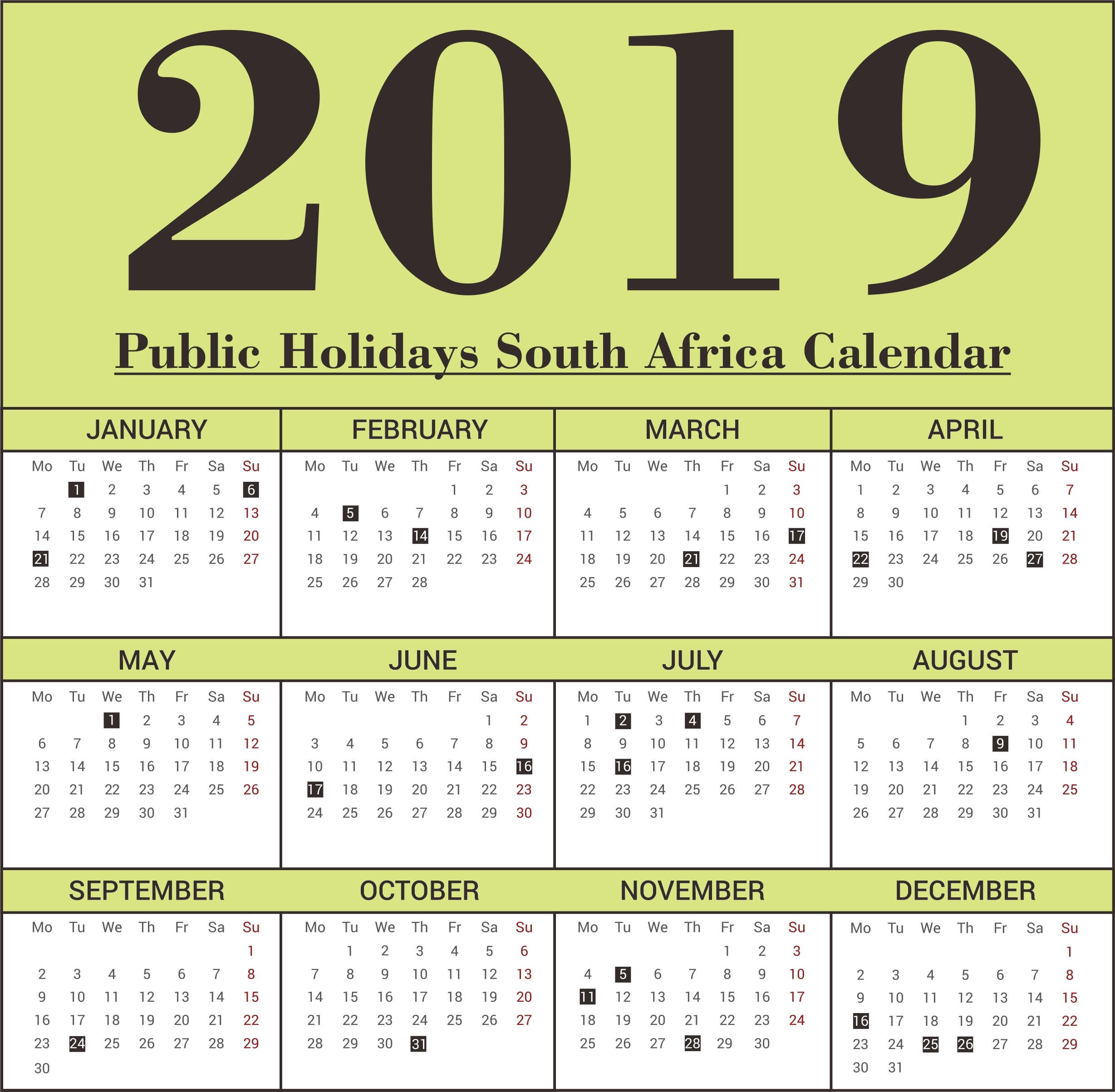 Calendar Public Holidays South Africa 2019 • Printable Blank-Calendar Template South Africa