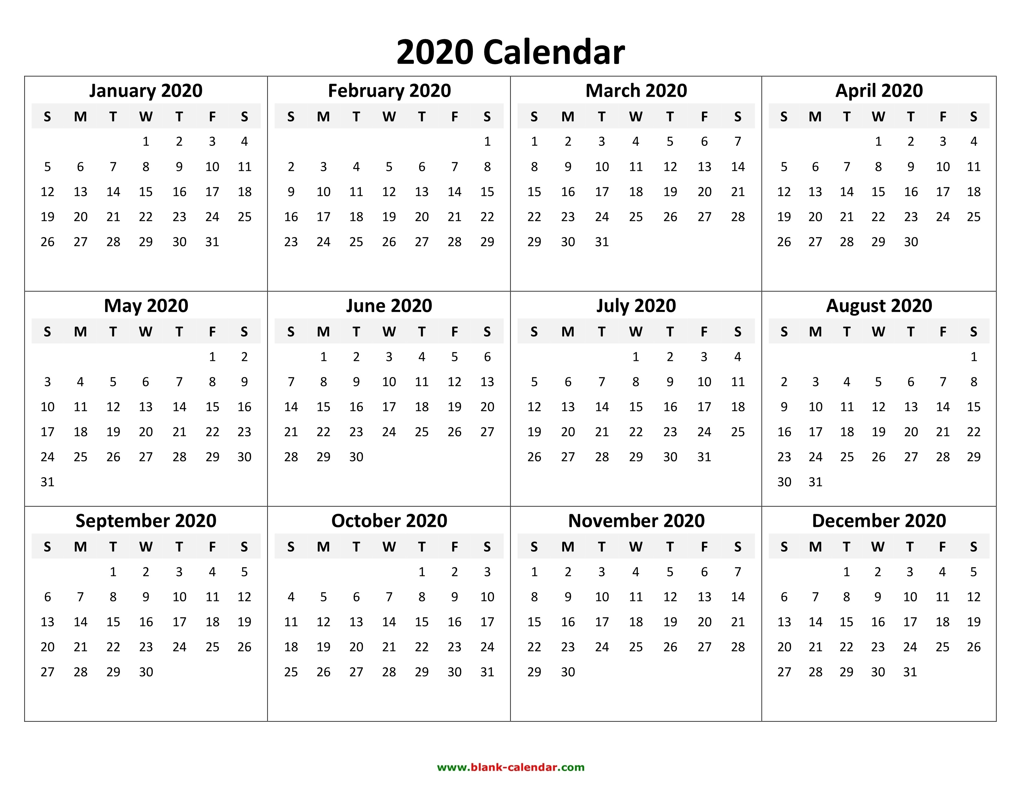 Calendar Template 2020 | One Page Calendar Printable-Fill In Calendar Template 2020