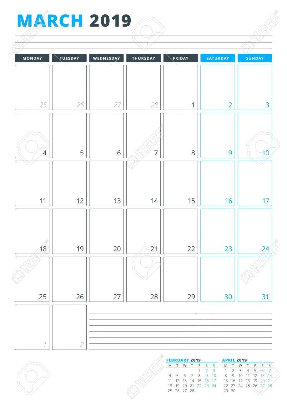 Calendar Template For March 2019. Business Planner Template-Monday Through Friday Planning Template