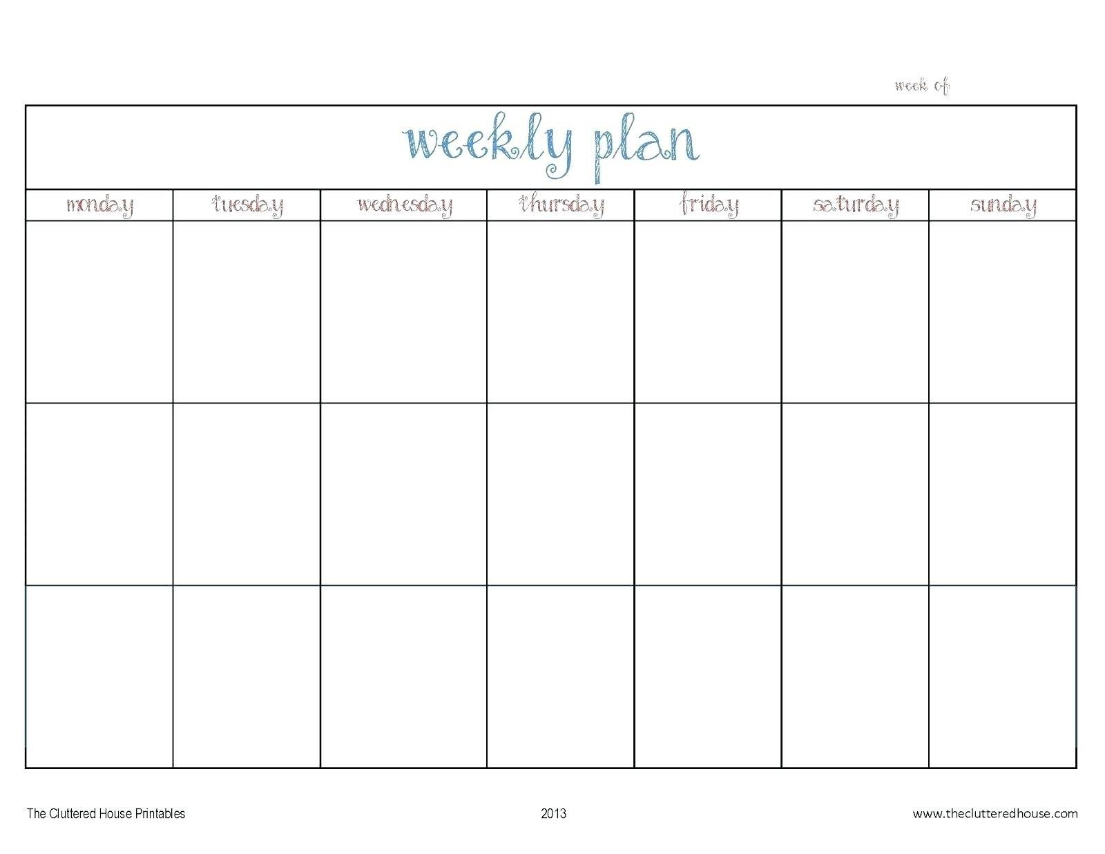 Calendar Template Monday Through Friday • Printable Blank-Monday Through Friday Template