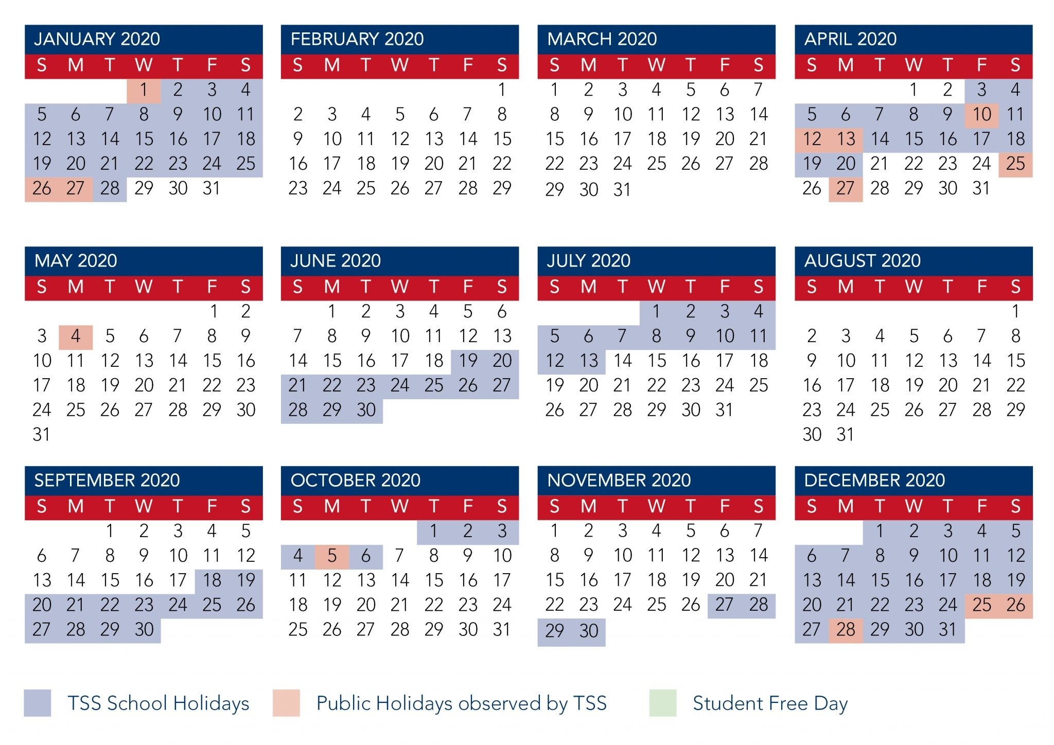 Calendar | The Southport School-January 2020 Calendar Qld