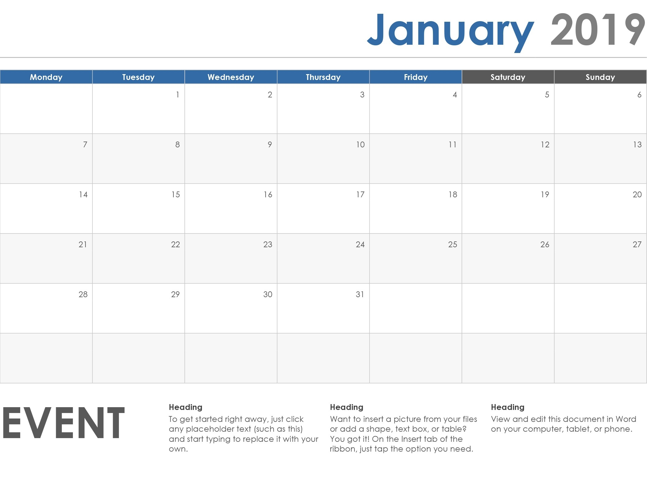 Calendars - Office-Word Monthly Calendar Template Word 2010