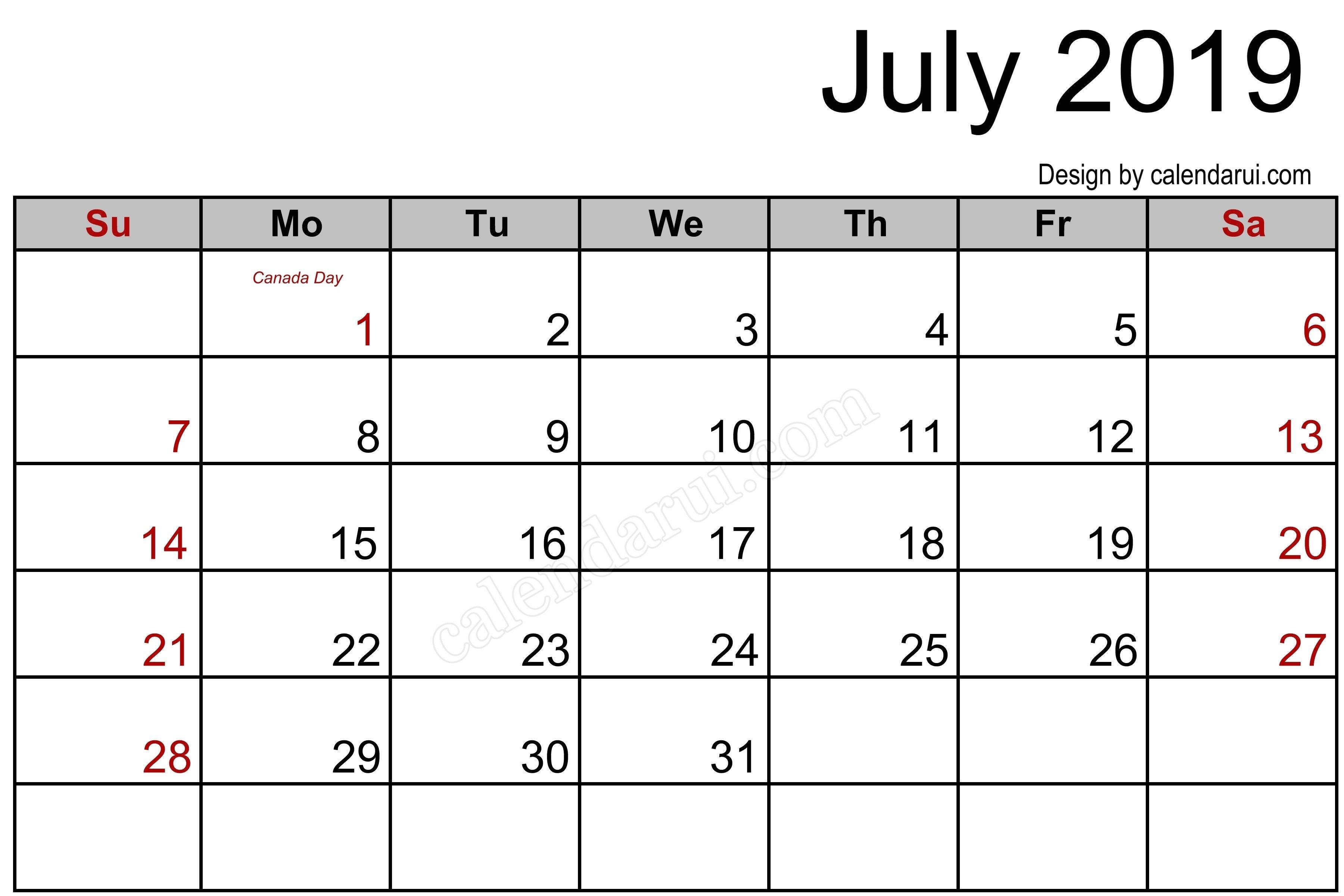 Canada July 2019 Calendar Printable Template Blank | 2019-Free Calendar Template Printable 201