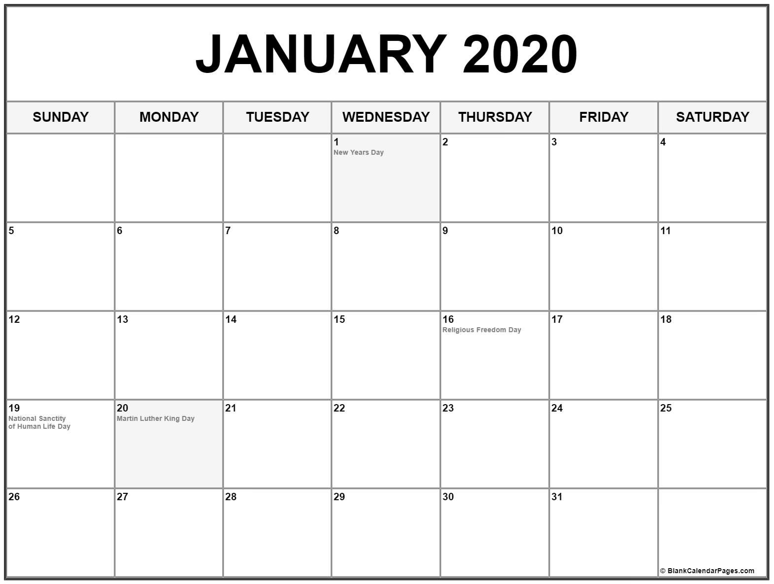 Collection Of January 2020 Calendars With Holidays-January 2020 Calendar Holidays
