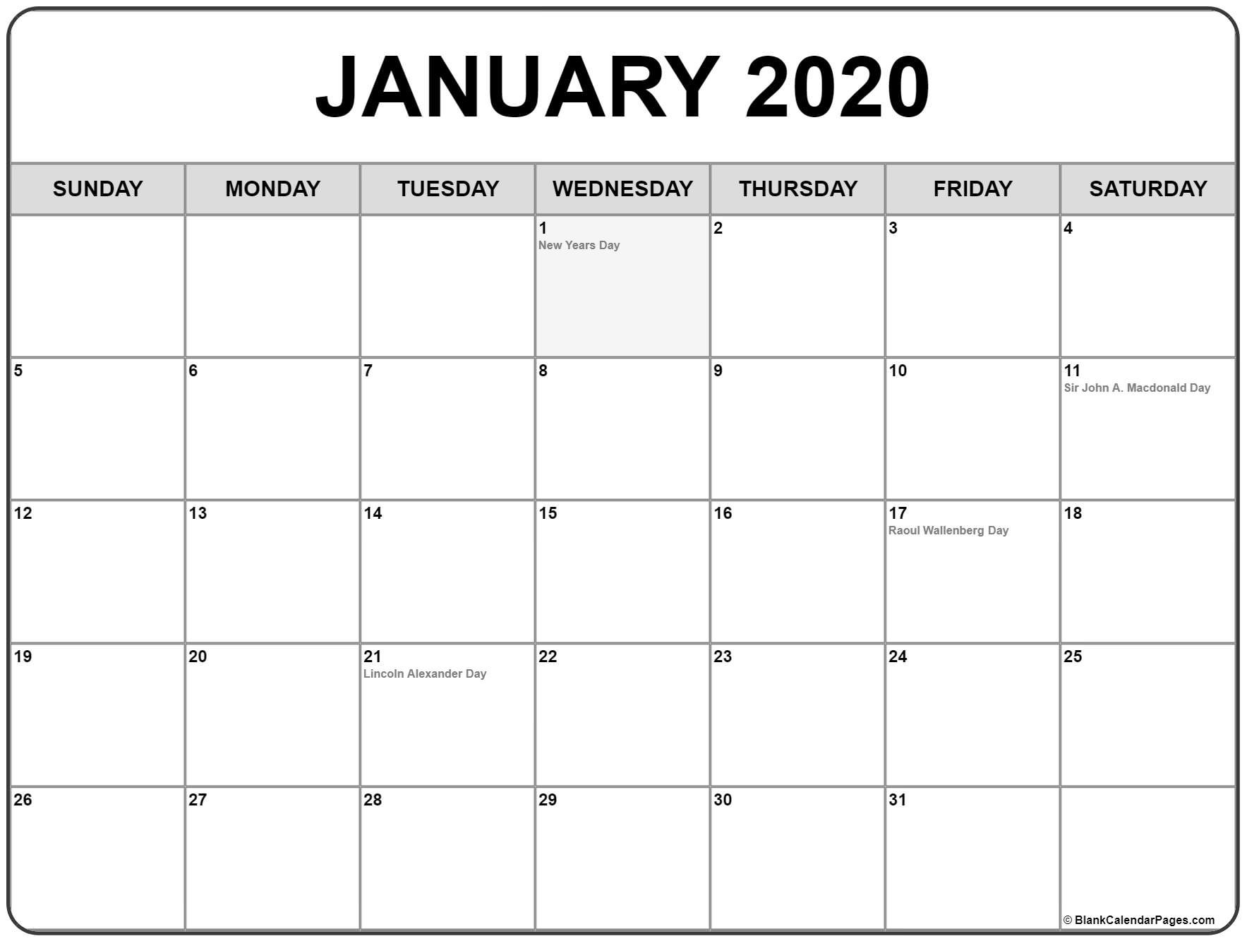 Collection Of January 2020 Calendars With Holidays-January 2020 Day Calendar