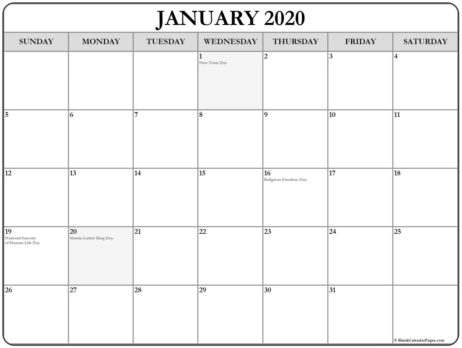 Collection Of January 2020 Calendars With Holidays-National Day Calendar January 2020