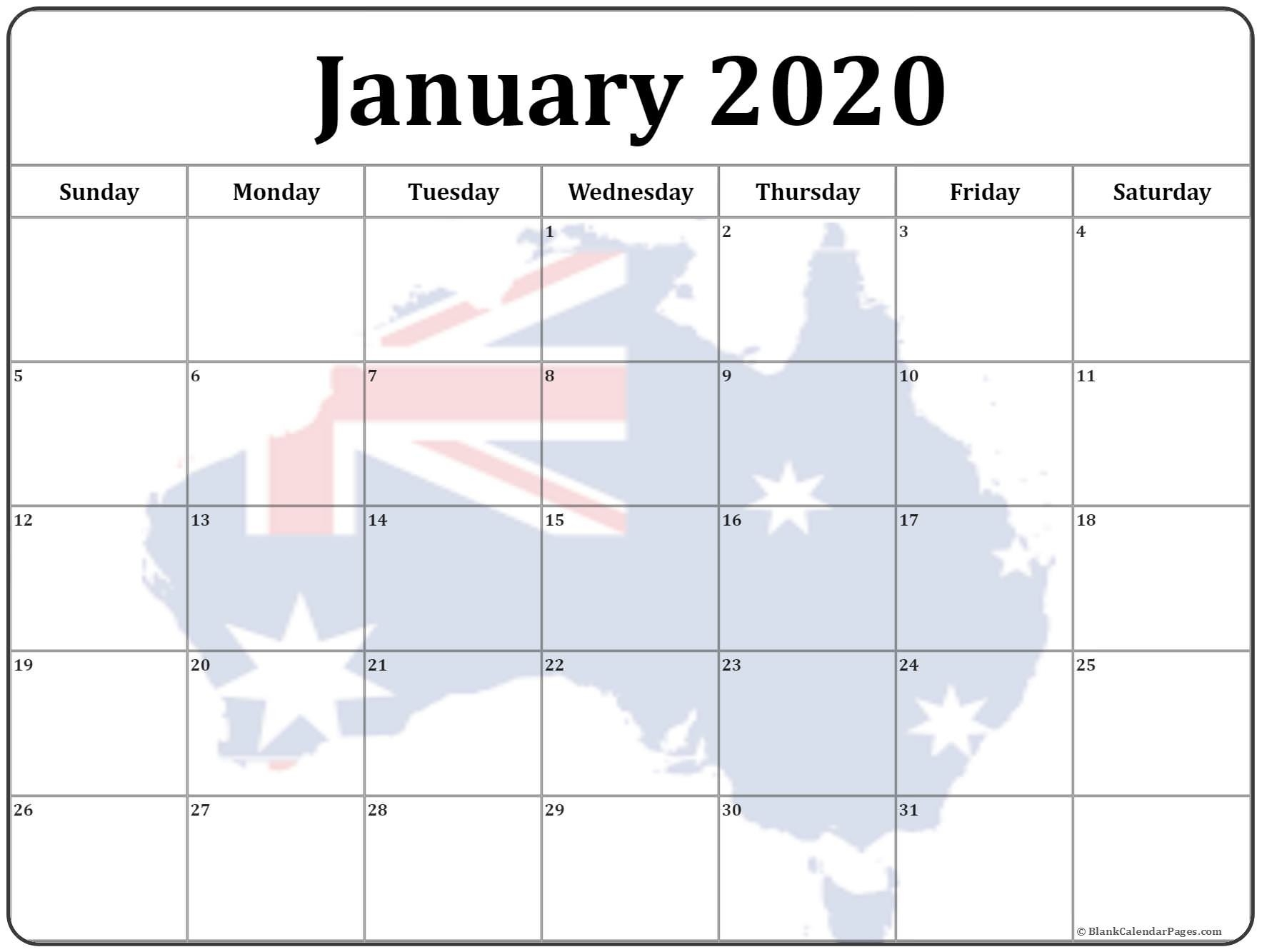 Collection Of January 2020 Photo Calendars With Image Filters.-January 2020 Calendar Australia