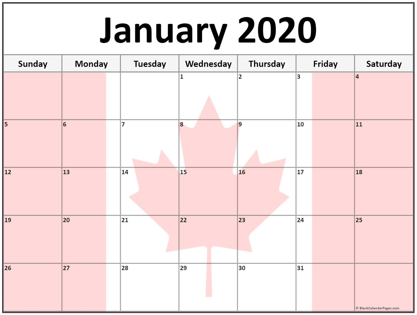 Collection Of January 2020 Photo Calendars With Image Filters.-January 2020 Canadian Calendar
