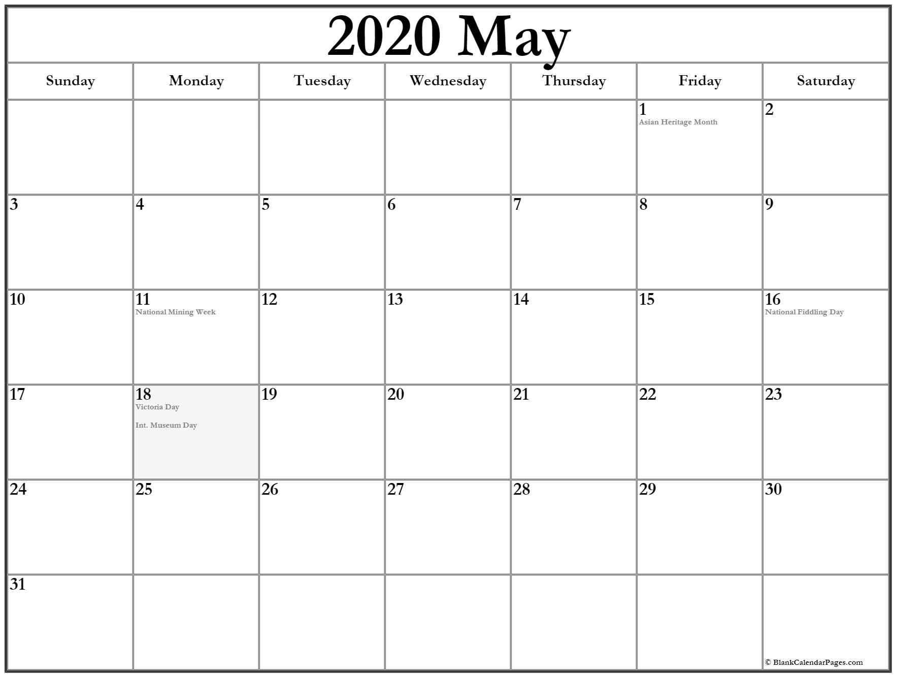 Collection Of May 2020 Calendars With Holidays-2020 May All Holidays