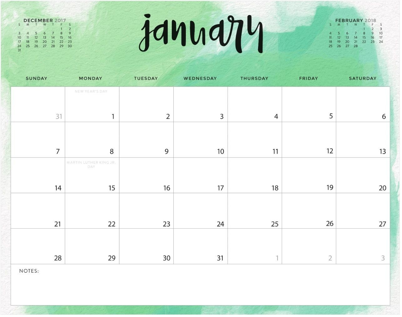 Color Pattern January 2018 Printable Calendar | Maxcalendars-Free Monthly Holiday Themed Calendar Printable 2020-2020