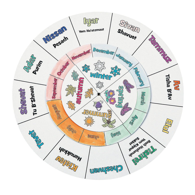 Color Your Own Jewish Calendar Wheels - Orientaltrading-Gregorian Calendar With Jewish Holidays
