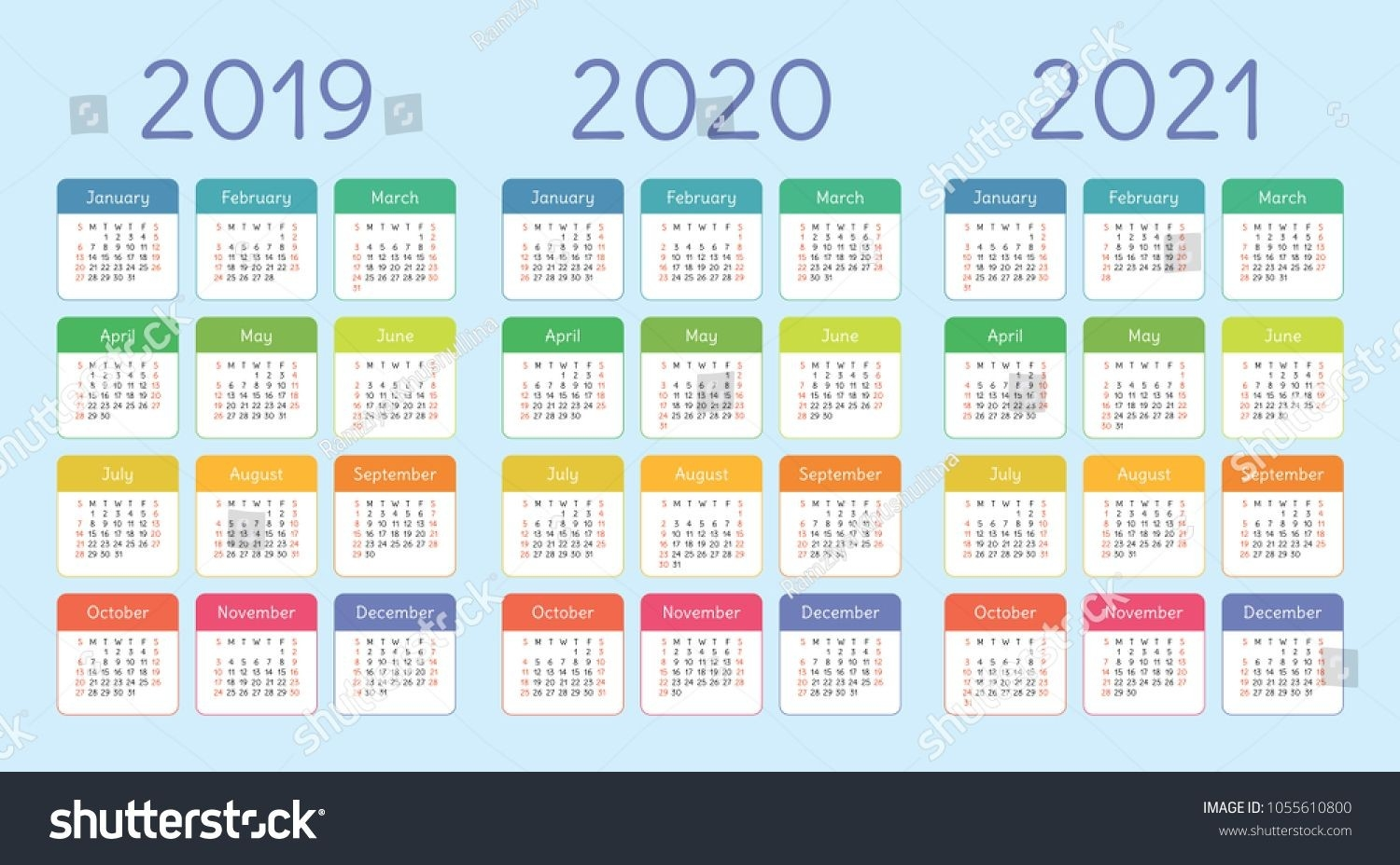 Colorful Calendar Set 2019, 2020 And 2021. Bright, Fun, Cute-Adobe Indesign Calendar Template 2020