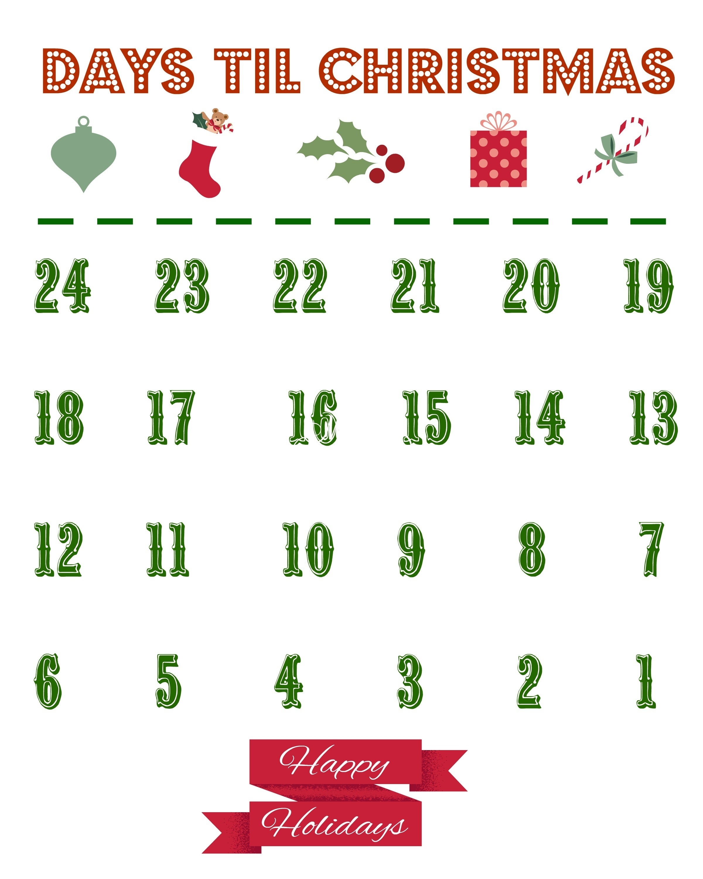 Count Down Calendars – Name-Printable Holiday Countdown Calendar Template