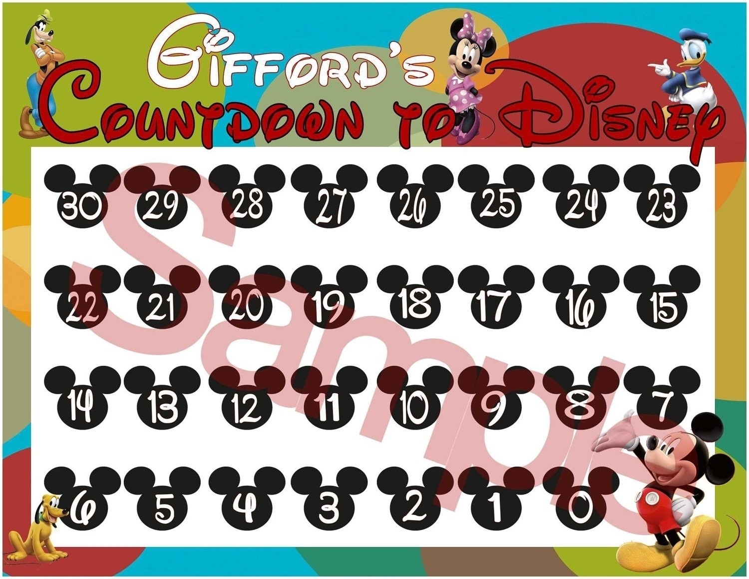 Countdown Calendar To Disney Vacation • Printable Blank-Disney Countdown Calendar Template