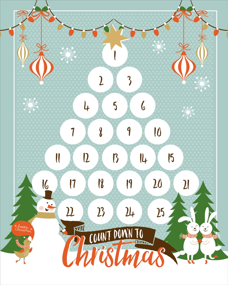 Countdown To Christmas Printable | Ogt Blogger Friends-Printable Holiday Countdown Calendar Template