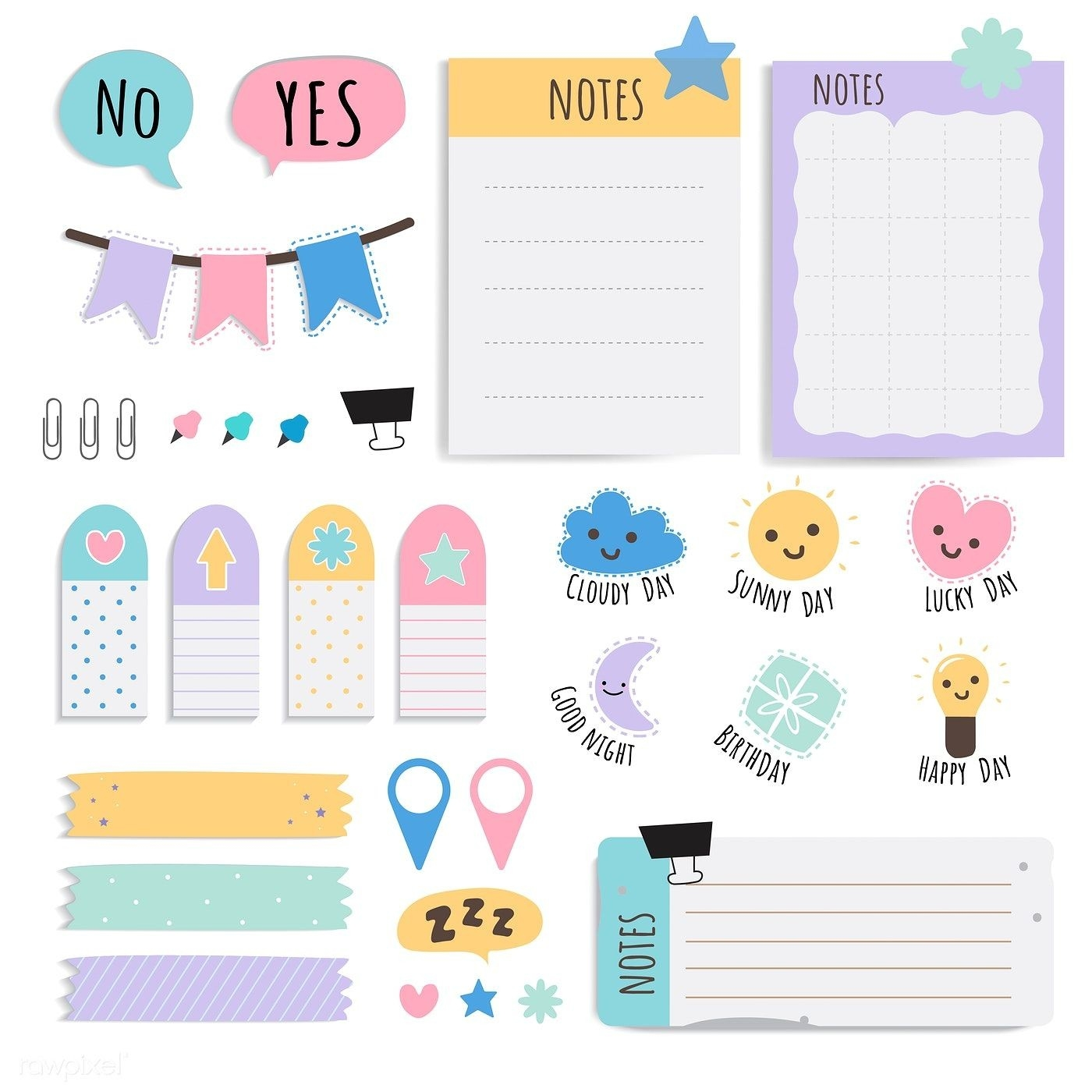 Cute Sticky Note Papers Printable Set | Free Image By-Free Sticky Note Calendar Template