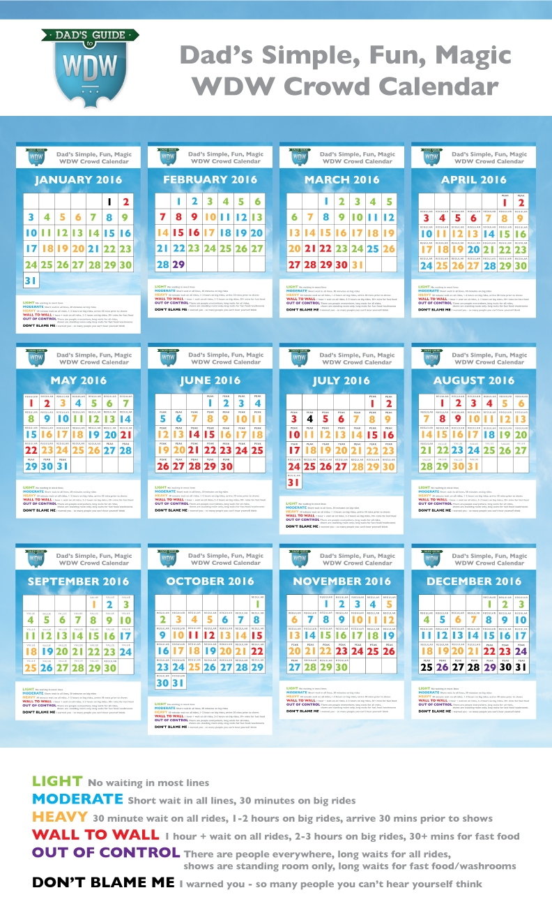Dad's 2016 Walt Disney World Crowd Calendars-Disney World January 2020 Crowd Calendar