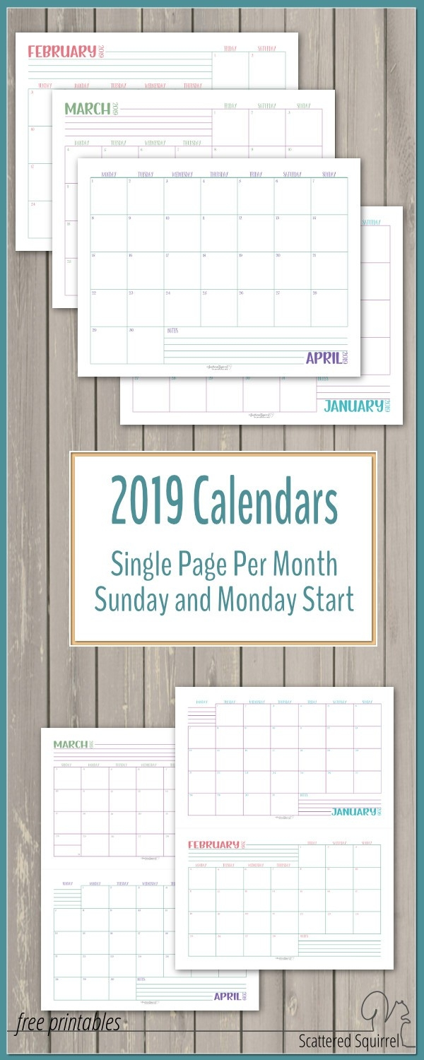 Dated 2019 Calendars Single Page Per Month - Scattered Squirrel-Scattered Squirrel Monthly Calendar