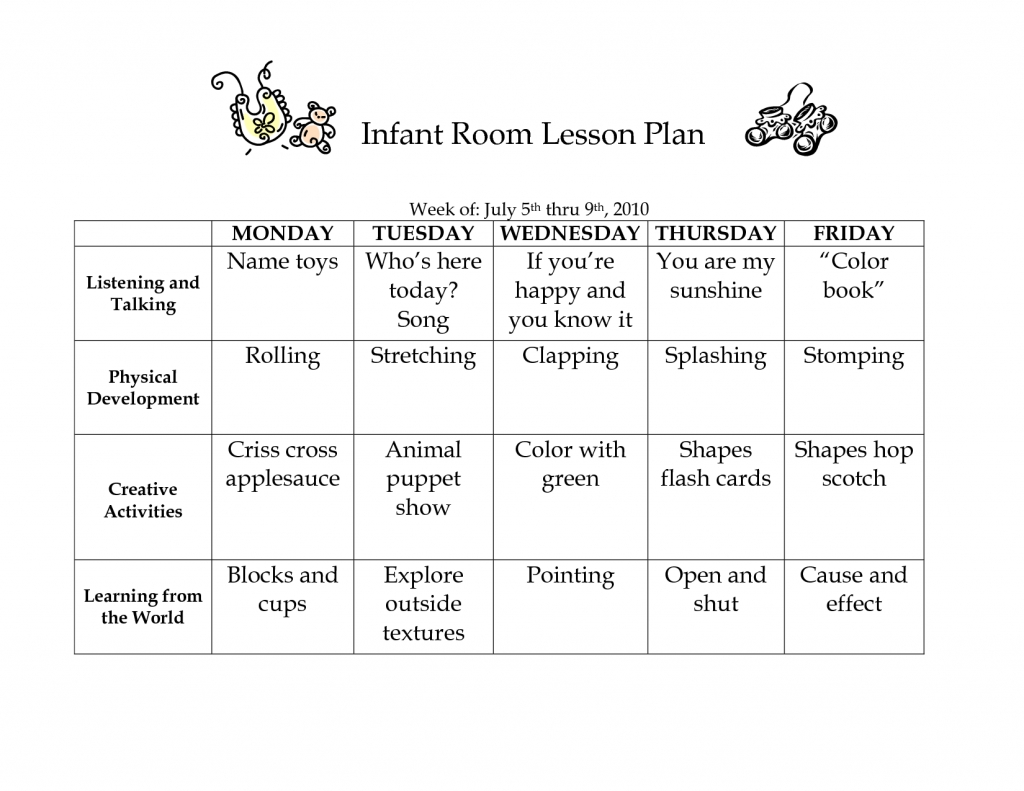 Daycare Lesson Plans For Toddlers Free Curriculum Two Year-Daycare Weekly Lesson Plan Template